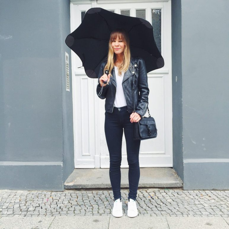 Women wearing umbrella and leather jacket for rainy day