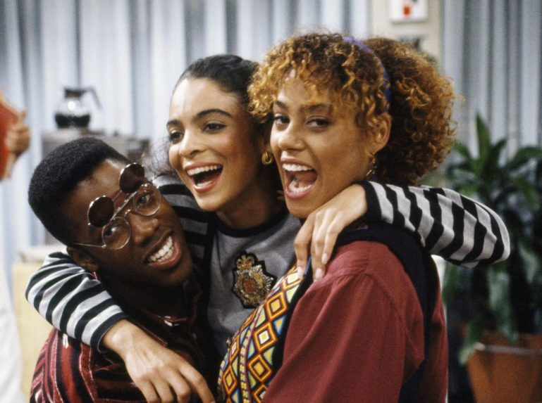 "A DIFFERENT WORLD -- ""Answered Prayers"" Episode 9 -- Aired 12/7/89 -- Pictured: (l-r) Kadeem Hardison as Dwayne Cleophus Wayne, Jasmine Guy as Whitley Marion Gilbert Wayne, Cree Summer as Winifred 'Freddie' Brooks -- Photo by: Gene Trindl/NBCU Photo Bank"