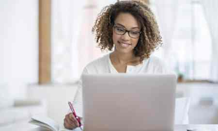 black woman using computer