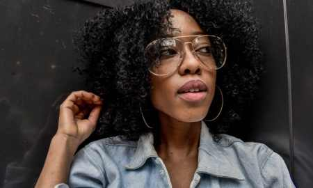 black woman wearing glasses