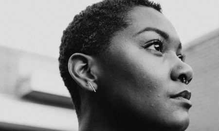 beautiful black woman looking up