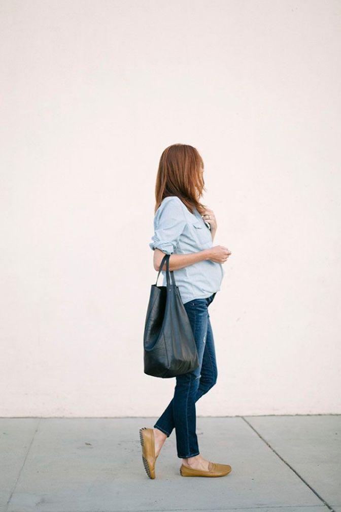 camisa jeans para grávidas