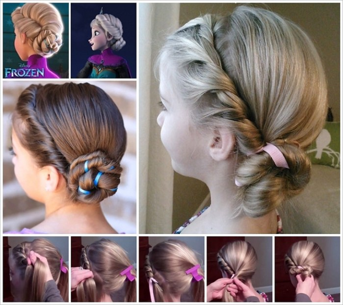 penteado Elsa Frozen coque