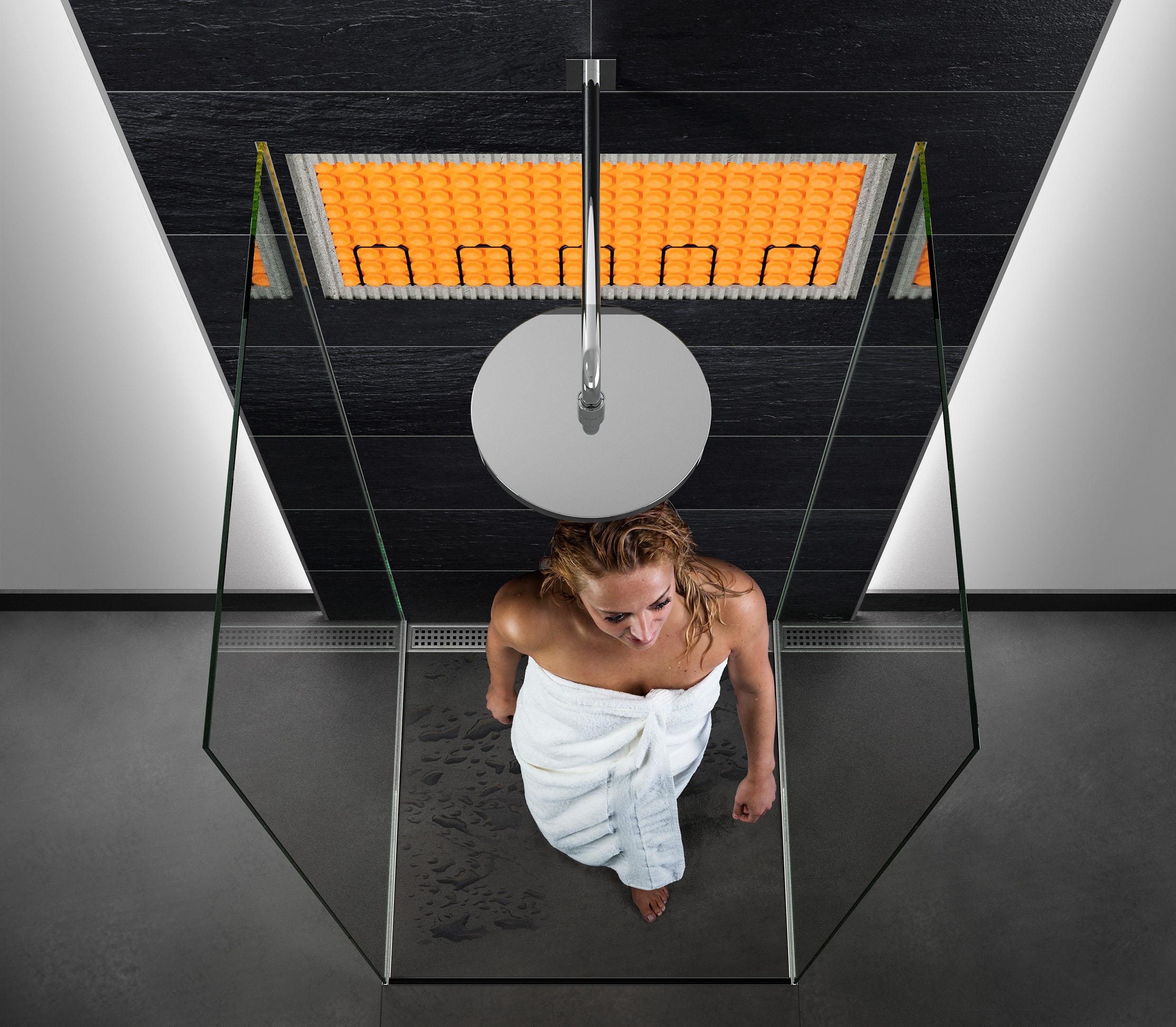 Elektrische Boden- und Wandheizung in der Dusche