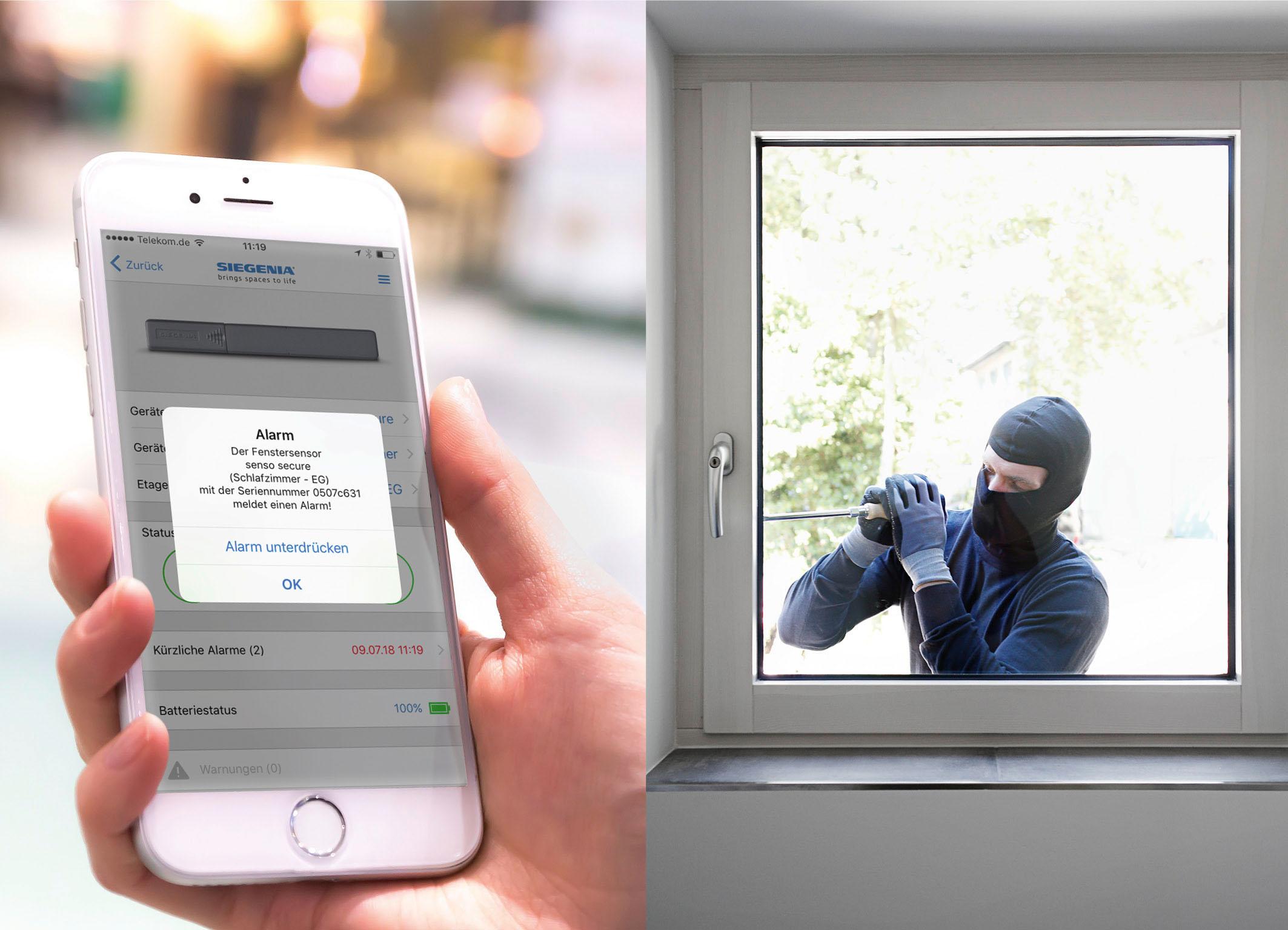 Fensterüberwachung meldet Einbruch