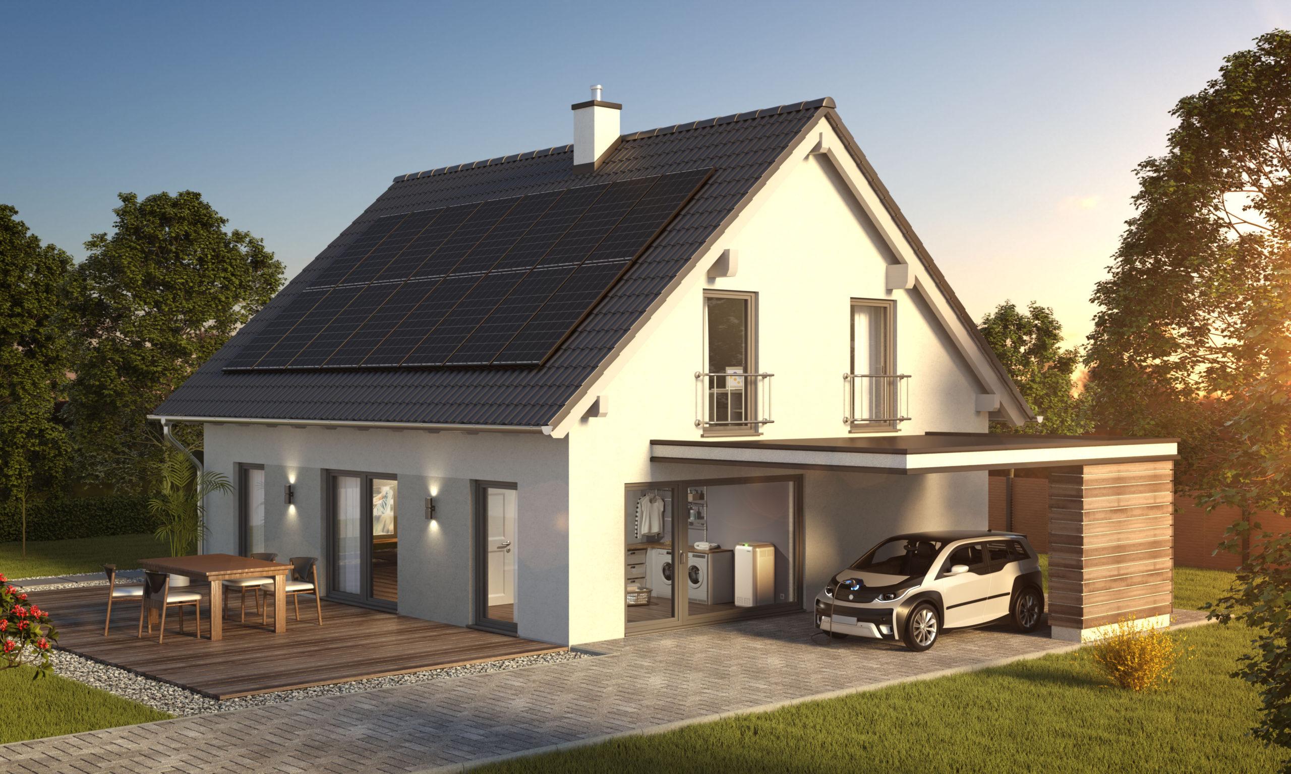 Moderne Solaranlagen auf einem Hausdach