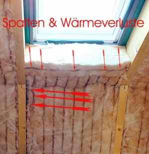 Bauüberwachung, Bauberatung, Bauabschnittsbegleitung, Baubetreuung, Bauabschnittsbegutachtung, Bauberater Dämmung Dachfenster mit Fehlstellen Hausabnahme