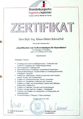 Zertifikat Bild Ausbildung als Bausachverständiger
