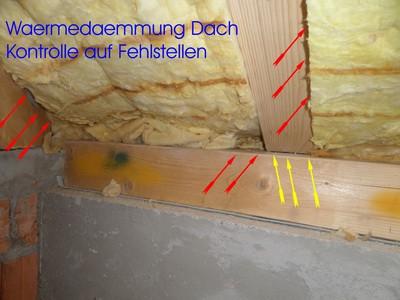 Kontrolle Waermedaemmung Dach