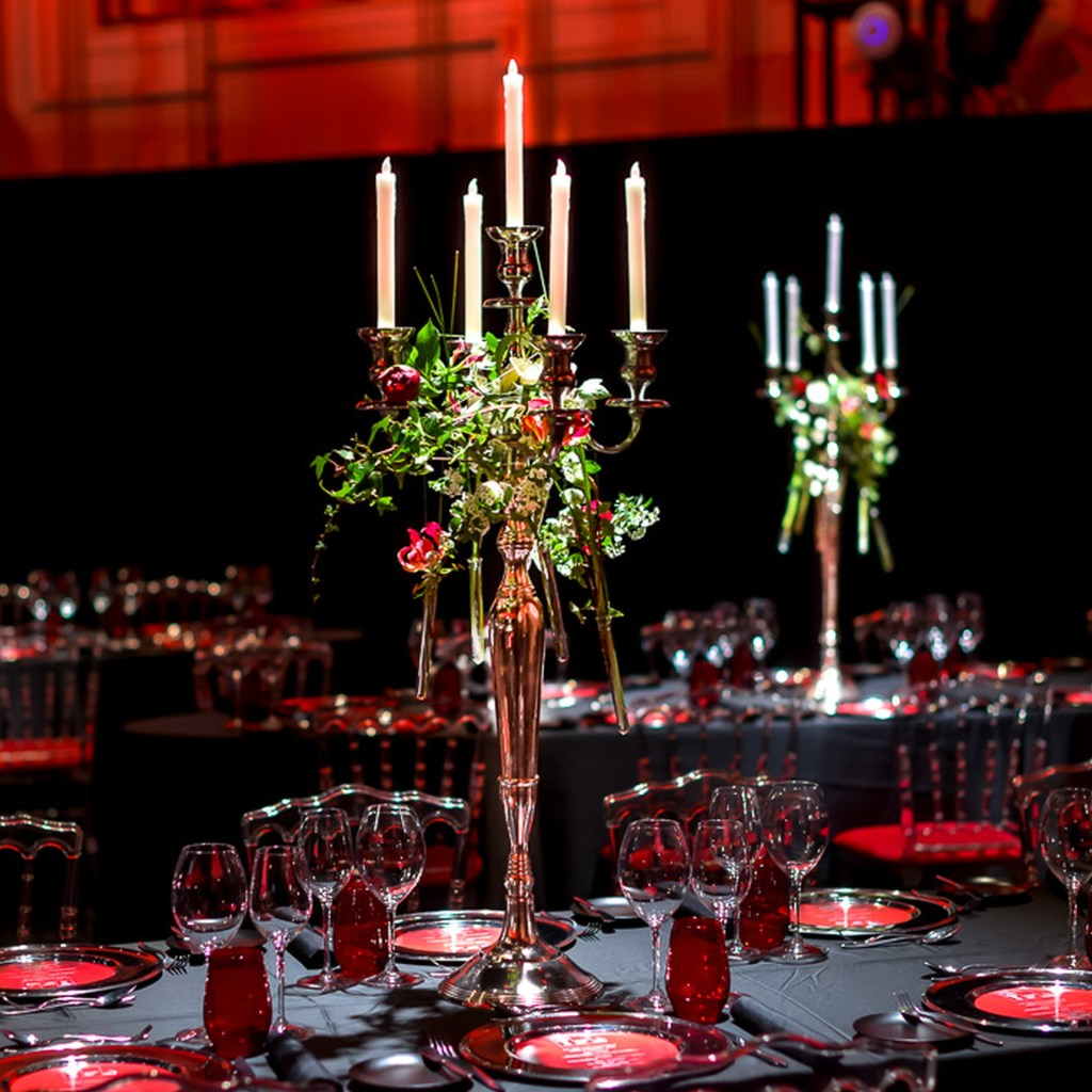 Kerzenständer, Blumen, Tischgestaltung, gala, Dinner