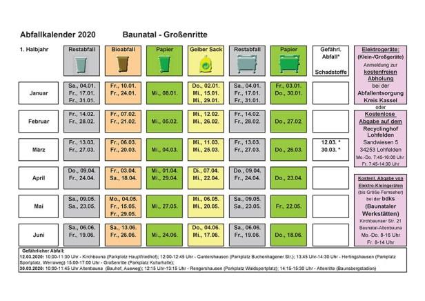 Abfallkalender, Baunatal, 2020, Großenritte