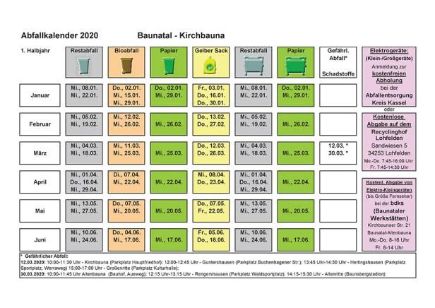 Abfallkalender, Baunatal, 2020, Kirchbauna