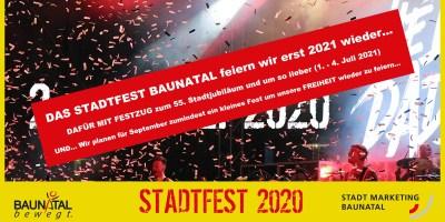 Stadtfest Baunatal 2020, Absage Stadtfest Baunatal, Stadtmarketing Baunatal