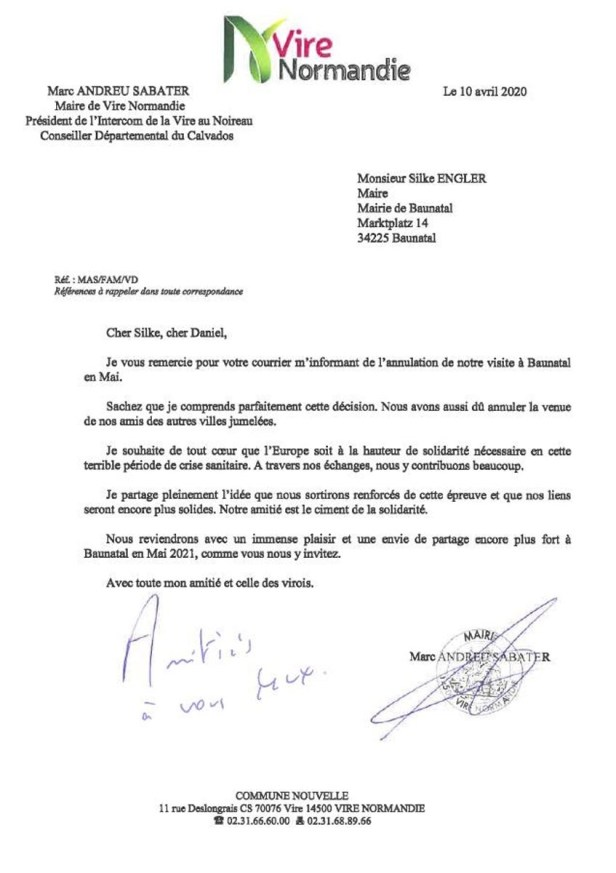 Marc-Andreu Sabater, Vire-Normandie, Städtepartnerschaft, Baunatal