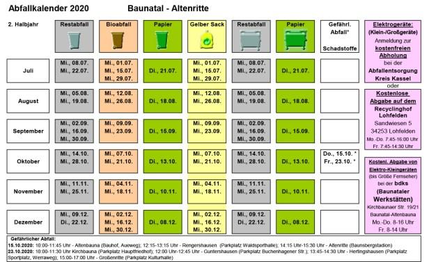 Abfallkalender Baunatal, 2020, 2. Halbjahr, Altenritte