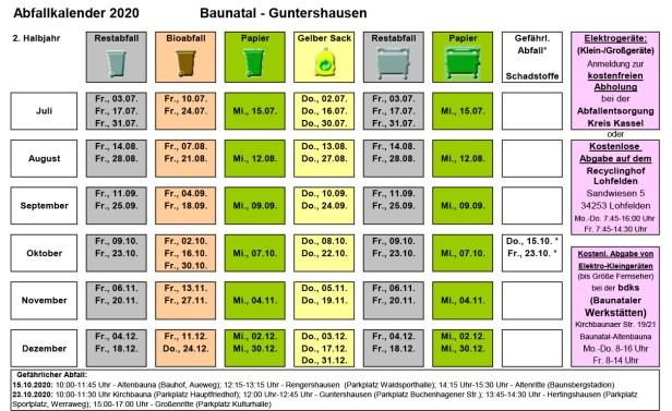 Abfallkalender Baunatal, 2020, 2. Halbjahr, Guntershausen