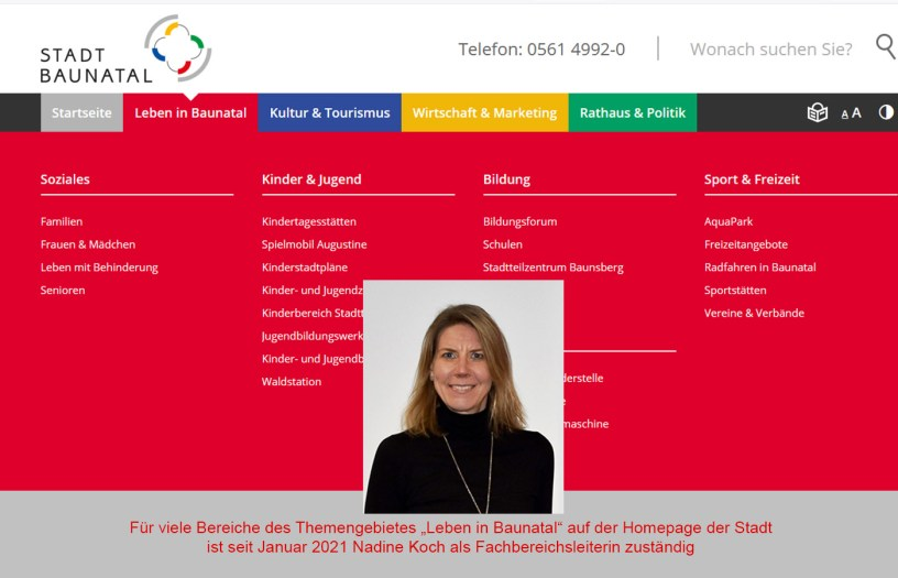 Stadtveraltung, Rathaus, Baunatal, Nadine Koch