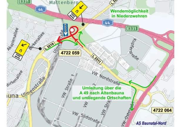 Baunatal, Verkehr, Sperrung Brückenbauarbeiten, L 3219, Landesstraße, VW Werk