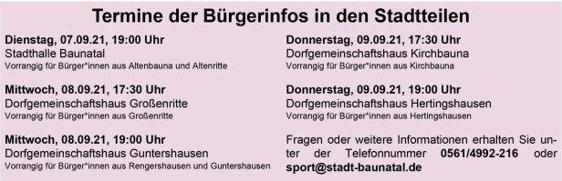 Baunatal, Sportentwicklungsplanung, Bürgerbüro