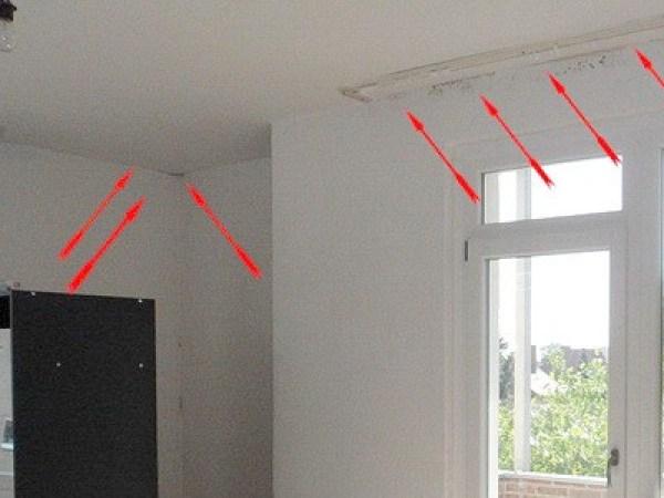 Wärmebrücke, Dämmung an den Rändern bzw. den Randsparren ist unzureichend im Dach darüber, Dachwohnung