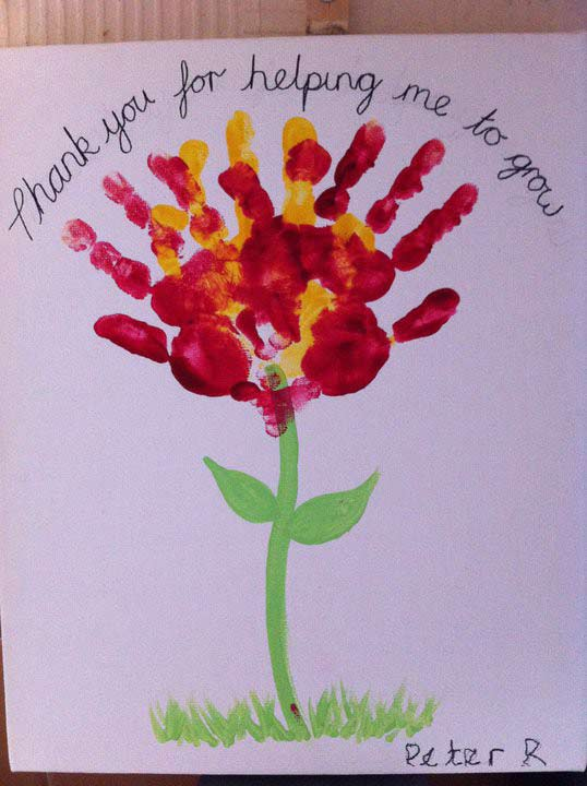 Teachers Day Card Making Ideas Part - 16: Hand Print Flower Card For Teachers - From Our Post 20 Last Minute Handmade  Teacheru0027s Day
