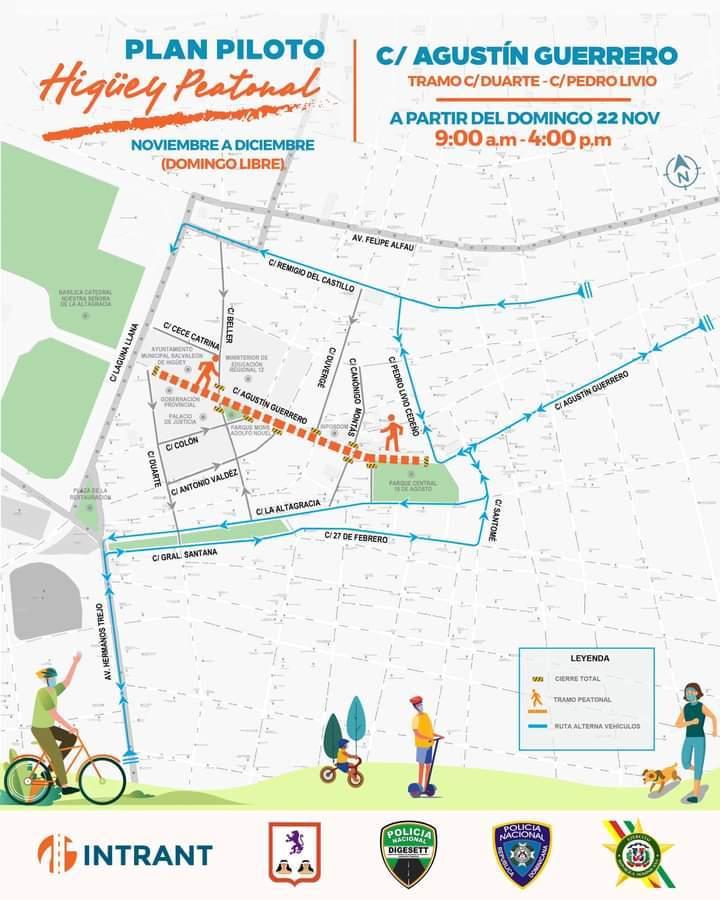 Higüey: Calle Agustín Guerrero será peatonal todos los domingos de Noviembre y Diciembre