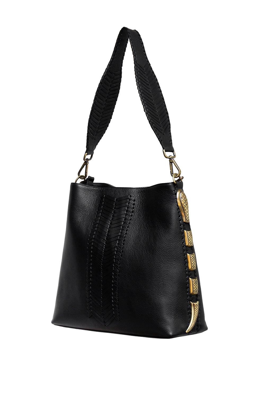handmade handbag in calf leather with snake detail