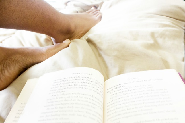 Reading book in bed