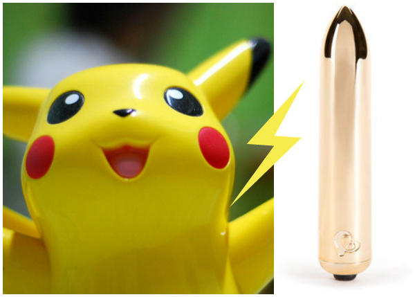 Happy Pikachu with Gold Bullet Vibrator