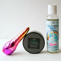 Unicorn vibrator kit with Unihorn bullet, Unicorn lube, and kissable body dust
