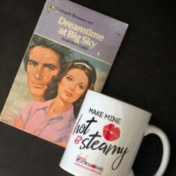 Bawdy Bookworms mug with vintage romance book
