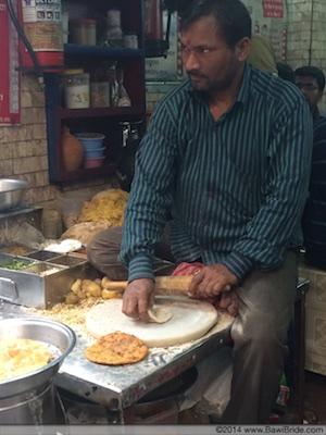 Deep fried Paranthas in the making at Paranthewali Gali