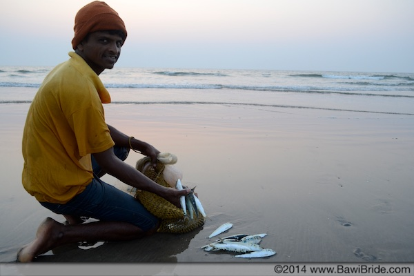 Catch of the day on Ware Beach, Ganpatipule