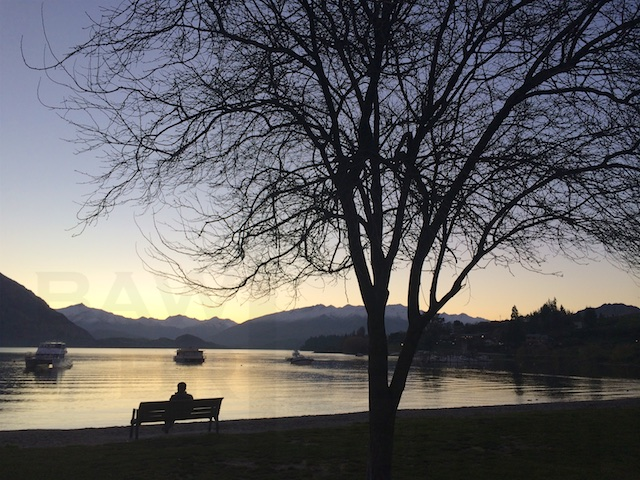 Sunset on lakefront of Wanaka