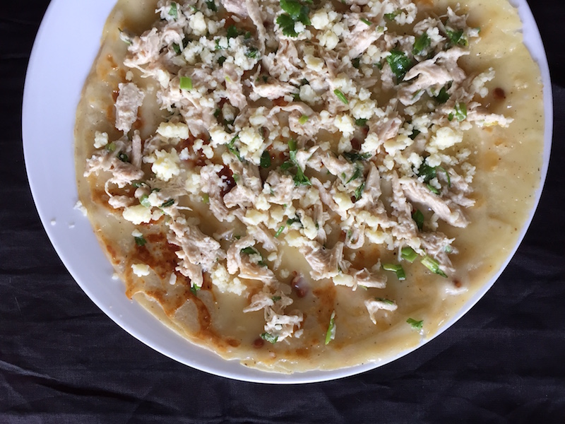 Parsi Pancake Chapat stuffed with chicken and mayo