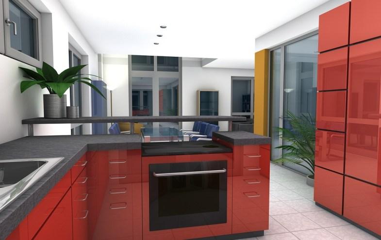 Eine moderne Küche in rot