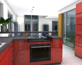 moderne Küchenfronten in rot