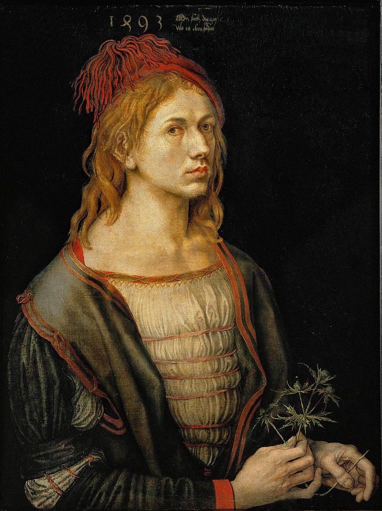 Self-Portrait or Portrait of the Artist Holding a Thistle (1493), Albrecht Dürer