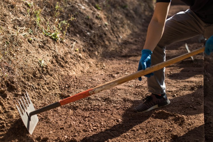A close-up of a tool used to cut, dig, and rake dirt during trail repair