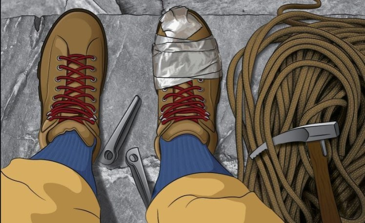 A cartoon-shaded illustration of a classic-era climber's feet from the perspective of the same climber standing on a ledge looking downward. One of the shoes is roughly mended with duct tape. Also in frame are a pair of pitons, a coil of rope and a piton hammer.