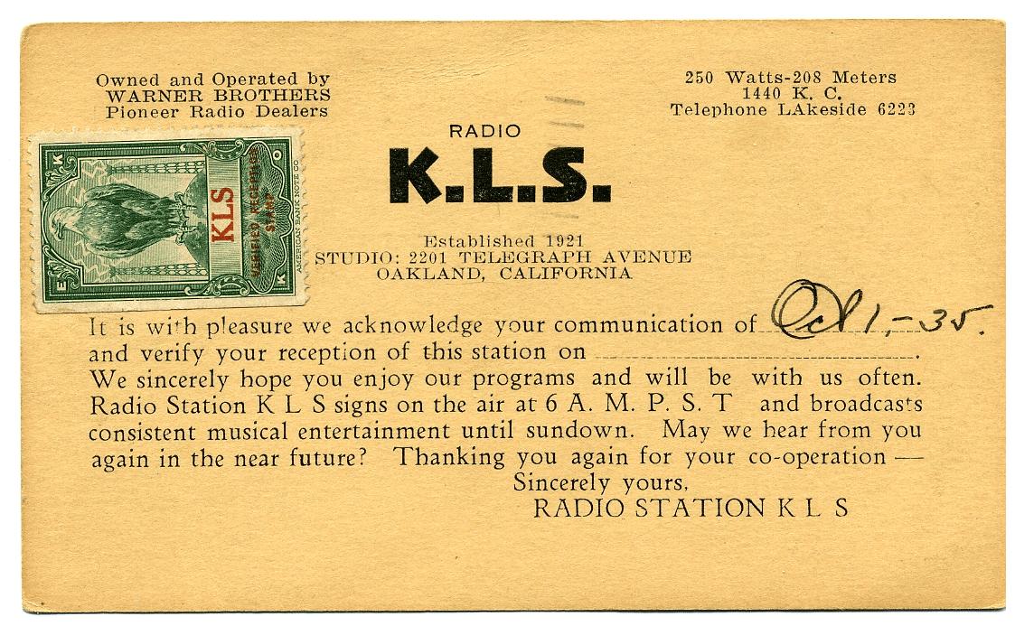 KLS Radio QSL Card (Image)