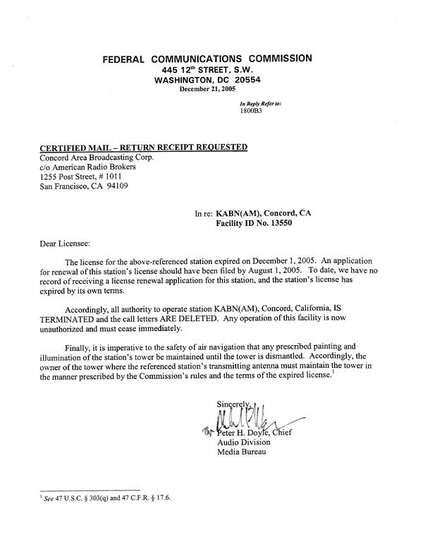 KABN (KWUN) FCC Deletion Letter (Image)