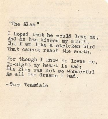 famously gorgeous love poems for him the kiss by sara teasdale