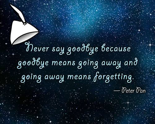peter pan goodbye quote