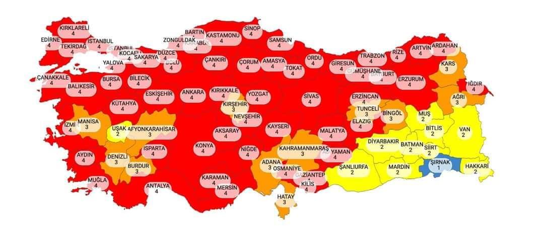 Bayburt Covid-19 haritasına kırmızı kategoride yer aldı