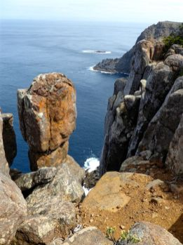 Towering stone column at Cape Raoul on the southern most tip of Tasman Peninsula