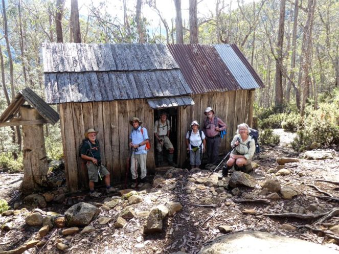 Geoff, Rodney, Stan, Jill, Bob and Mary at Trappers Hut on the track to The Walls of Jerusalem