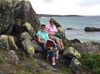 Gillian and Barbara enjoying the view at Bingie Point