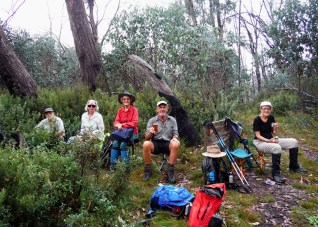 Morning tea at the base of Mt Dunn Stan, Mary M, Bob M, Betty, Chris