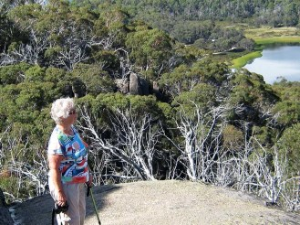 Nancy on the Monolith overlooking Lake Catani